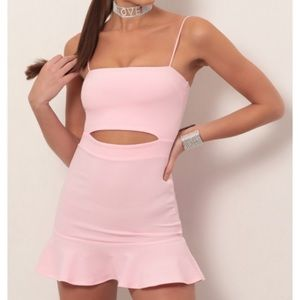Cutout bodycon ruffle dress